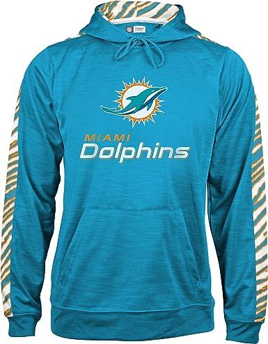 Logo Small OTS NFL Miami Dolphins Mens Fleece 1//4-Zip Pullover