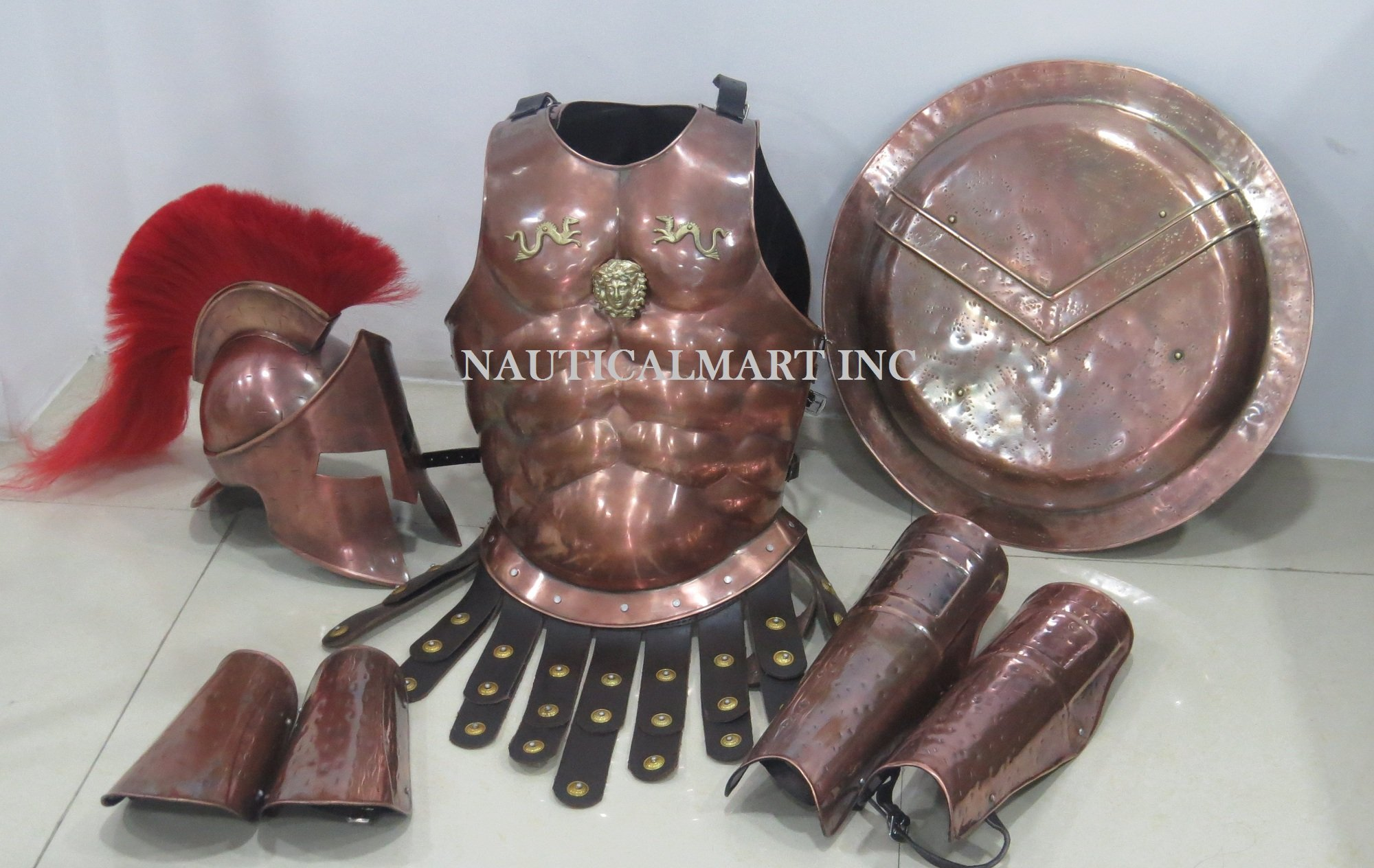 Medieval Spartan Copper 300 Helmet W/ Red Plume Muscle Armor by Nauticalmart by NAUTICALMART (Image #2)