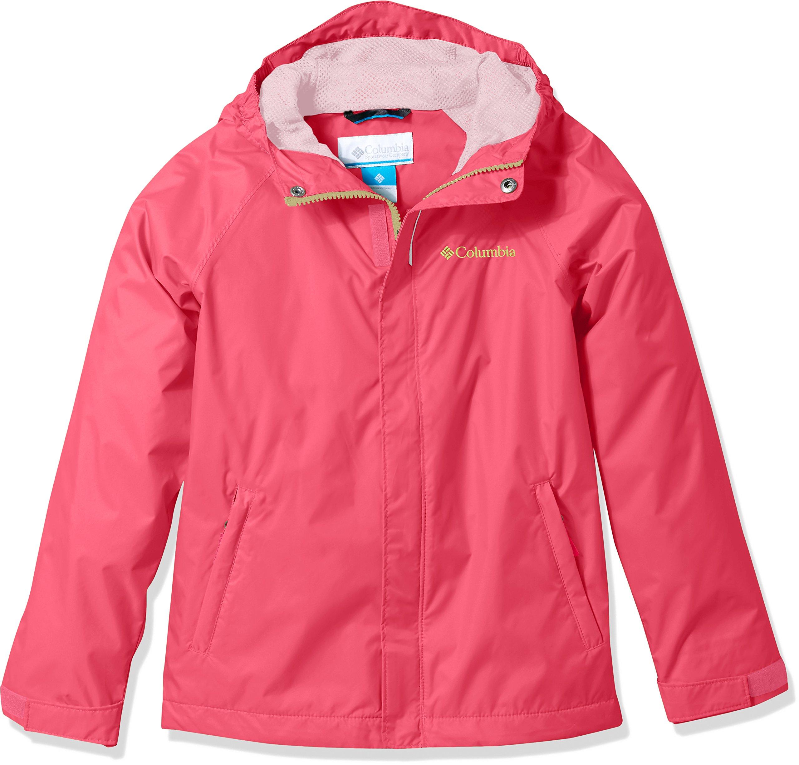 Columbia Kids' Big Boy's Fast and Curious Rain Jacket, Punch Pink Campin, XL