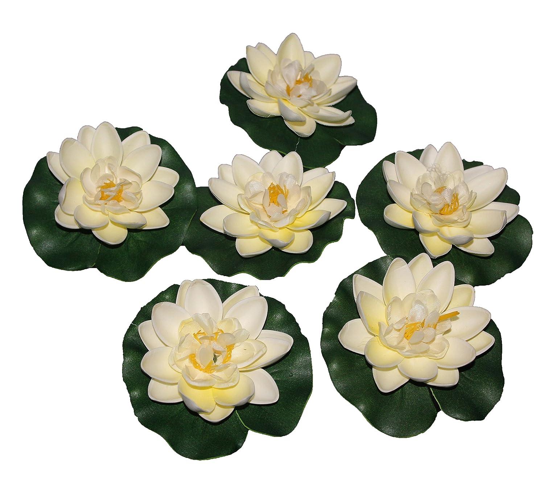 Pollination White Medium Floating Lotus Artificial Flowers Amazon