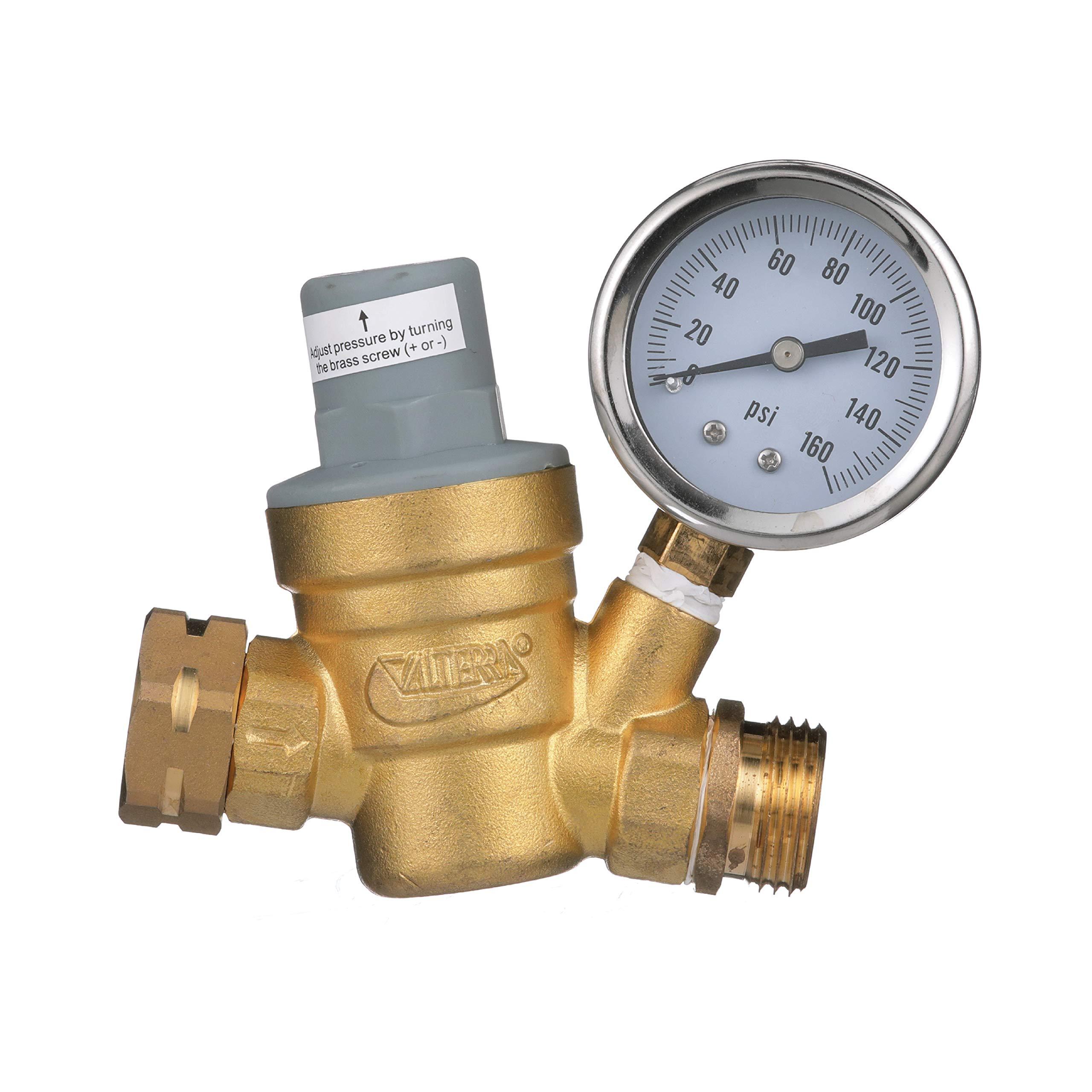 Valterra RV Water Regulator, Lead-Free Brass Adjustable Water Regulator with Pressure Gauge for Camper, Trailer, RV Plumbing System by Valterra
