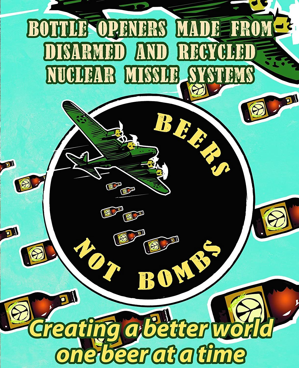 Beers Not Bombs Wall Mounted Bottle Opener From War to Peace BNB/_Wallmount