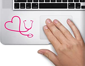 Stethoscope Heart RN Nurse Symbol Decal Funny Laptop Skin MacBook Trackpad Keypad Sticker Window