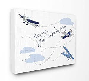 The Stupell Home Decor Collection Never Stop Exploring Airplanes Stretched Canvas Wall Art, Multicolor