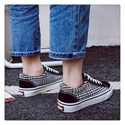 Amazon.com | Women Fashion Canvas Shoes Lattice Women Sneakers Gingham Girls Casual Shoes Classic Style Zapatillas Lona Mujer Vintage 35-40 Black 7 ...