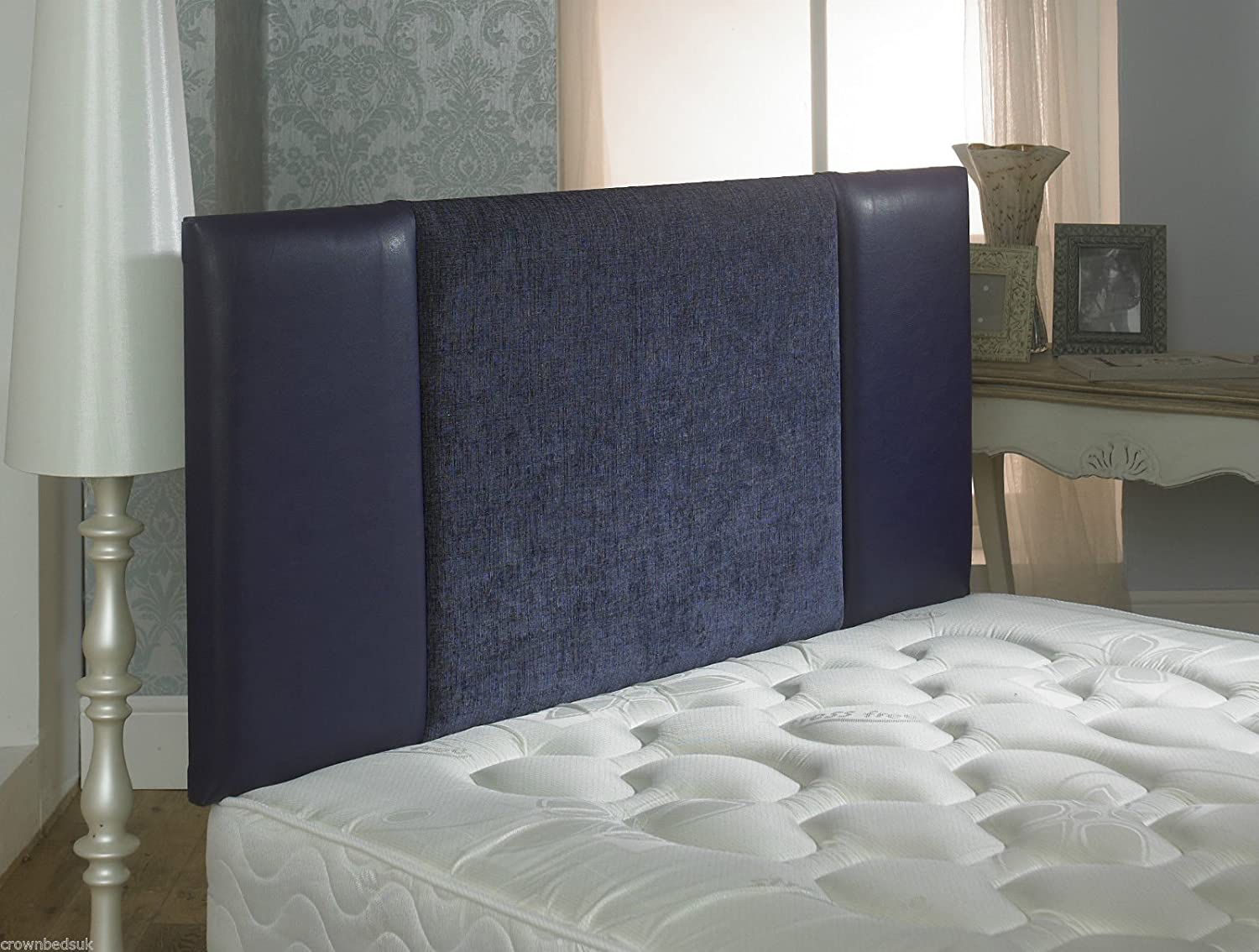 CROWNBEDSUK QUALITY OSLO FAUX LEATHER & CHENILLE HEADBOARD IN 2ft6,3ft,4ft,4ft6,5ft,6ft (2FT6 SMALL SINGLE, Black)