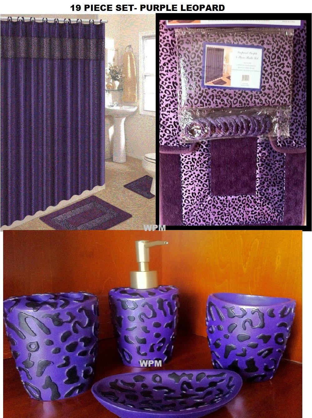 Amazon com  19 Piece Bath Accessory Set Purple Leopard Bathroom Rugs    Shower Curtain   Accessories  Home   Kitchen. Amazon com  19 Piece Bath Accessory Set Purple Leopard Bathroom