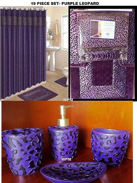 wpm 19 piece bath accessory set pink leopard bathroom rugs shower rh amazon co uk