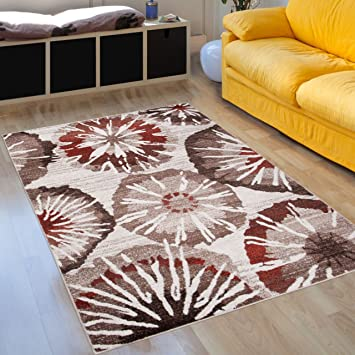 Teppich Modernen Wohnzimmer Prestige U2013 Farbe Braun Beige Ecru Motiv  Regenschirme U2013 Pflegeleicht U2013 Beste