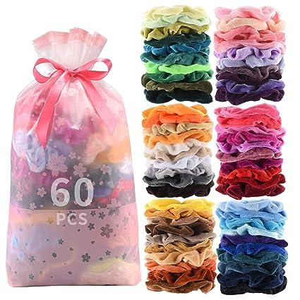 60 Pcs Premium Velvet Hair Scrunchies Hair Bands Scrunchy Hair Ties Ropes Scrunchie for Women or Girls Hair Accessories with Gift bag
