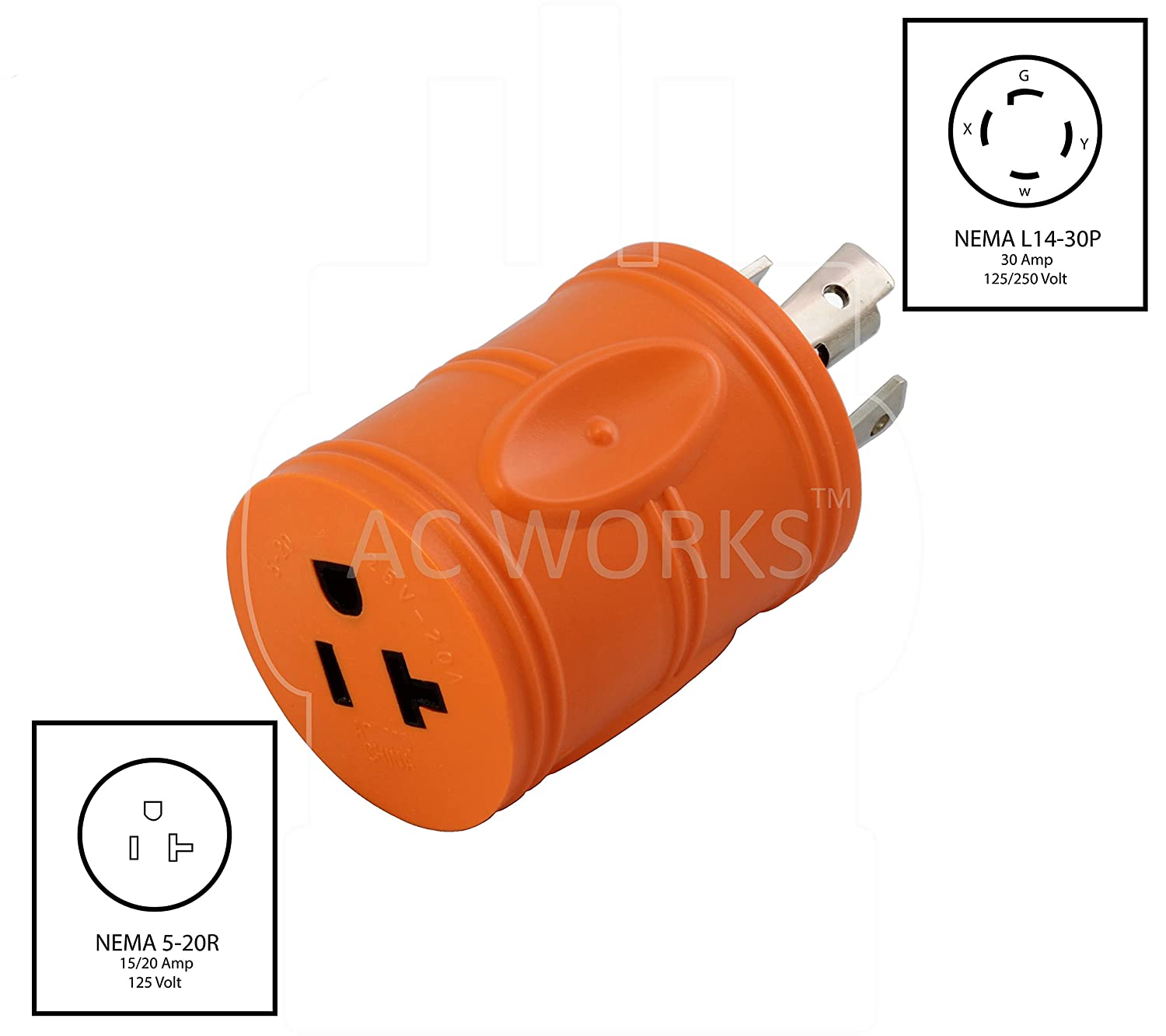 Ac Works Adl1430520 Locking Adapter L14 30p 30amp 125 250volt 4 5 Plug Wiring Prong Male To 15 20r Regular Household 20amp Female Connector