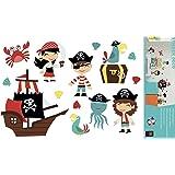 Décorations murales adhésives 48*68 Enfant Pirate, Polyvinyle, Multicolore, 48 x 0,1 x 68 cm