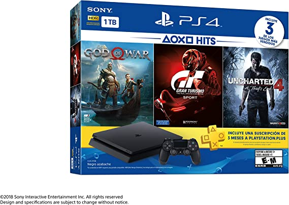 Sony PlayStation 4 Slim (1 TB) PS4 golpea consola El paquete incluye dios de la guerra, GT Sport, Uncharted 4 (Versión de importación): Amazon.es: Videojuegos