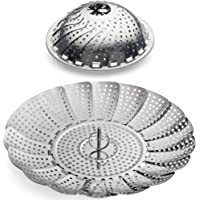 """Sunsella Vegetable Steamer - 5.3"""" to 9.3"""" - 100% Stainless Steel"""