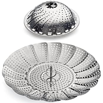 "100% Stainless Steel Vegetable Steamer Basket/Insert for Pots, Pans, Crock Pots & more. 5.5"" to 9.3"" - Includes bonus Extension Handle.By Sunsella"