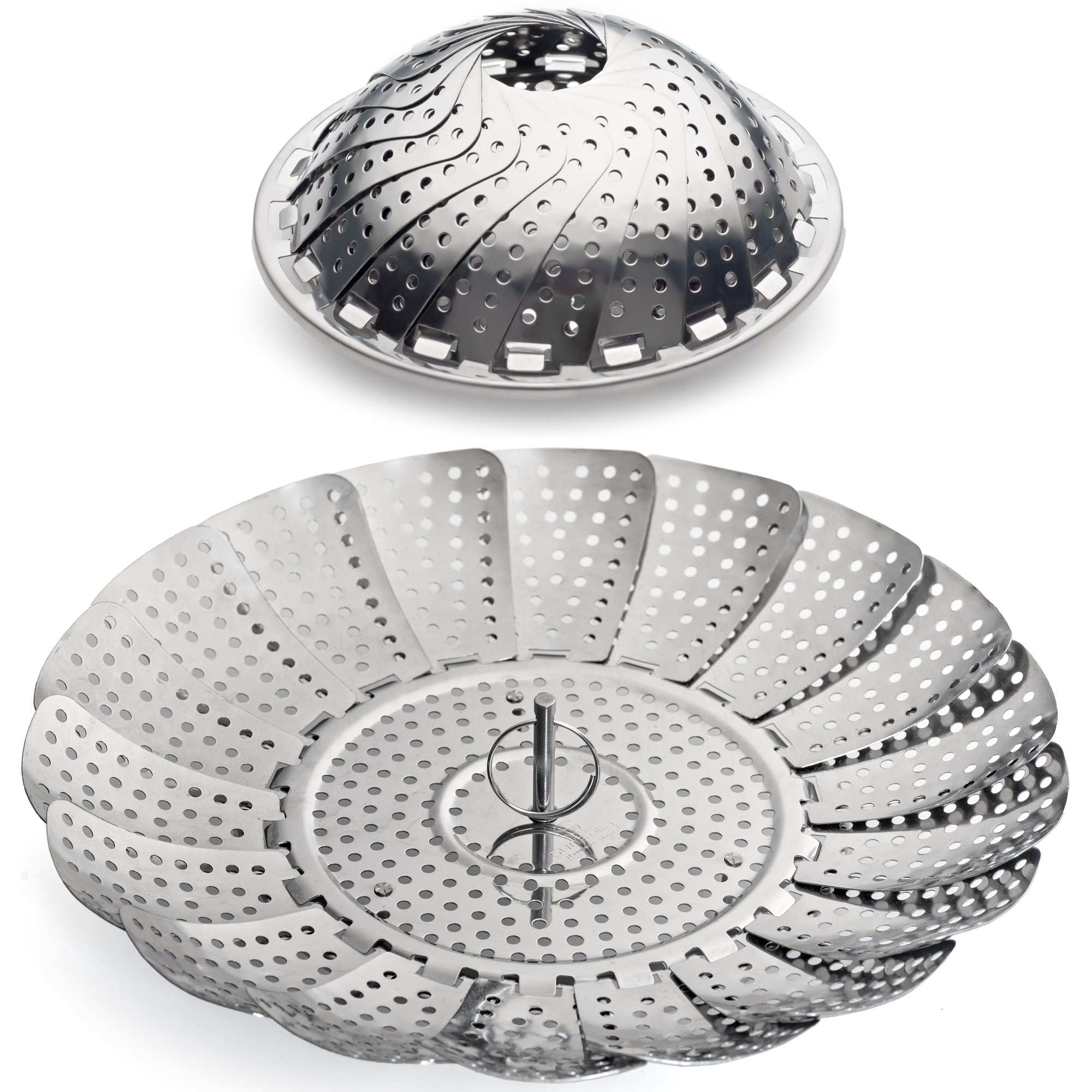 100% Stainless Steel Vegetable Steamer Basket/Insert for Pots, Pans, Crock Pots & more. 5.5'' to 9.3'' - Includes bonus Extension Handle.By Sunsella