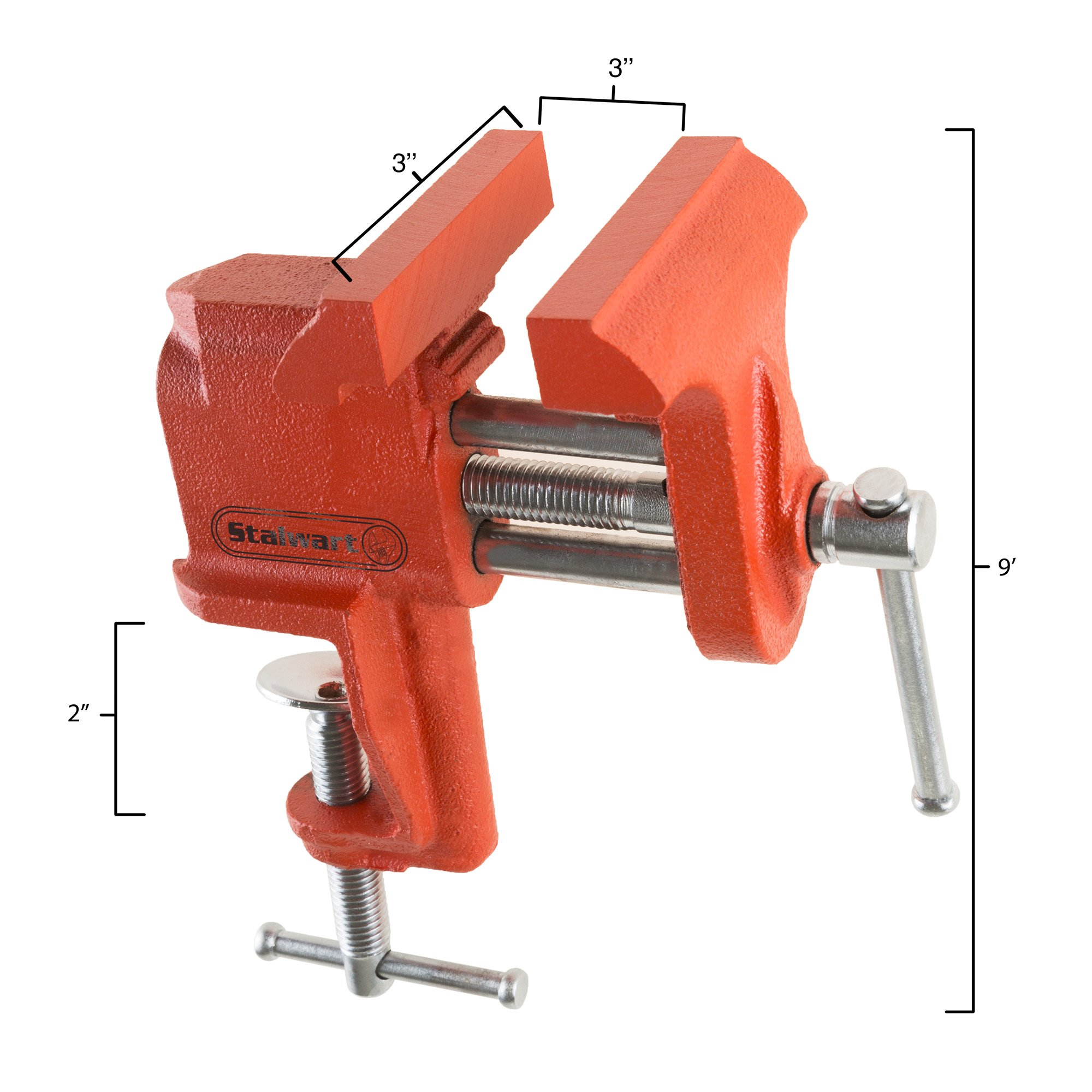 """Stalwart Clamp On Vise with 3 Inch """"V"""" Jaw for Table and Bench- Cast Iron Workbench Clamping Tool for Precision, DIY, Small Repairs and More by Stalwart (Image #2)"""