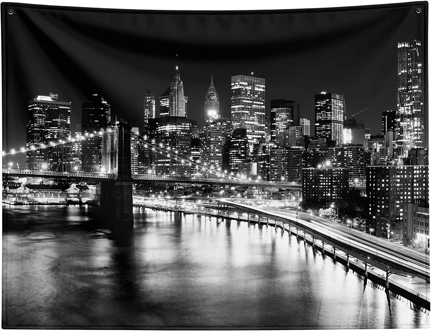 """New York City Wall Tapestry for Bedroom Living Room Decor ,Downtown Manhattan Tapestries NYC New York City Skyline Skyscrapers Brooklyn Bridge Black Tapestry Wall Hanging Backdrop Extra Large 80""""x60"""""""