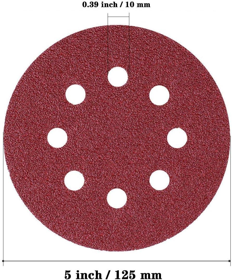 paquet de 70 40//80//120//240//320//600//800 Papier abrasif /à grains vari/és disques /à crochets et boucles de 5 po 8 trous KITEOAGE Disques de pon/çage
