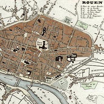 Amazon.com: Rouen France 1835 Monin small city plan old map hand ...