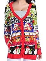 Women Christmas sweater, V28 Girls ladies Ugly Fun Long Knit Sweater Cardigan