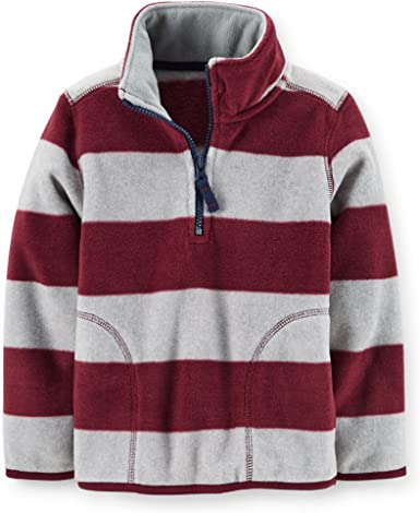 3 Months, Burgundy Carters Baby Boys Microfleece Striped Pullover Jacket