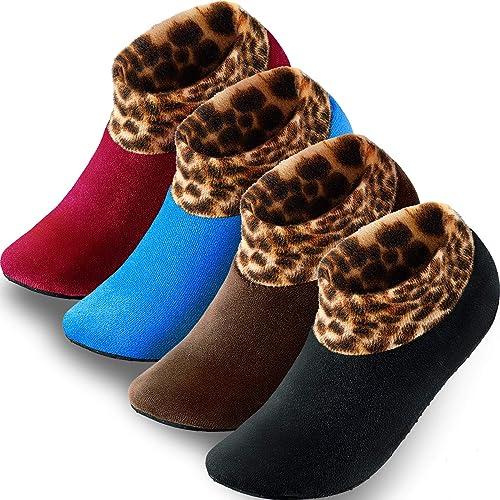 Women Winter Fleece Leopard Floor Socks Ladies Indoor Bed Floor Thicken Socks