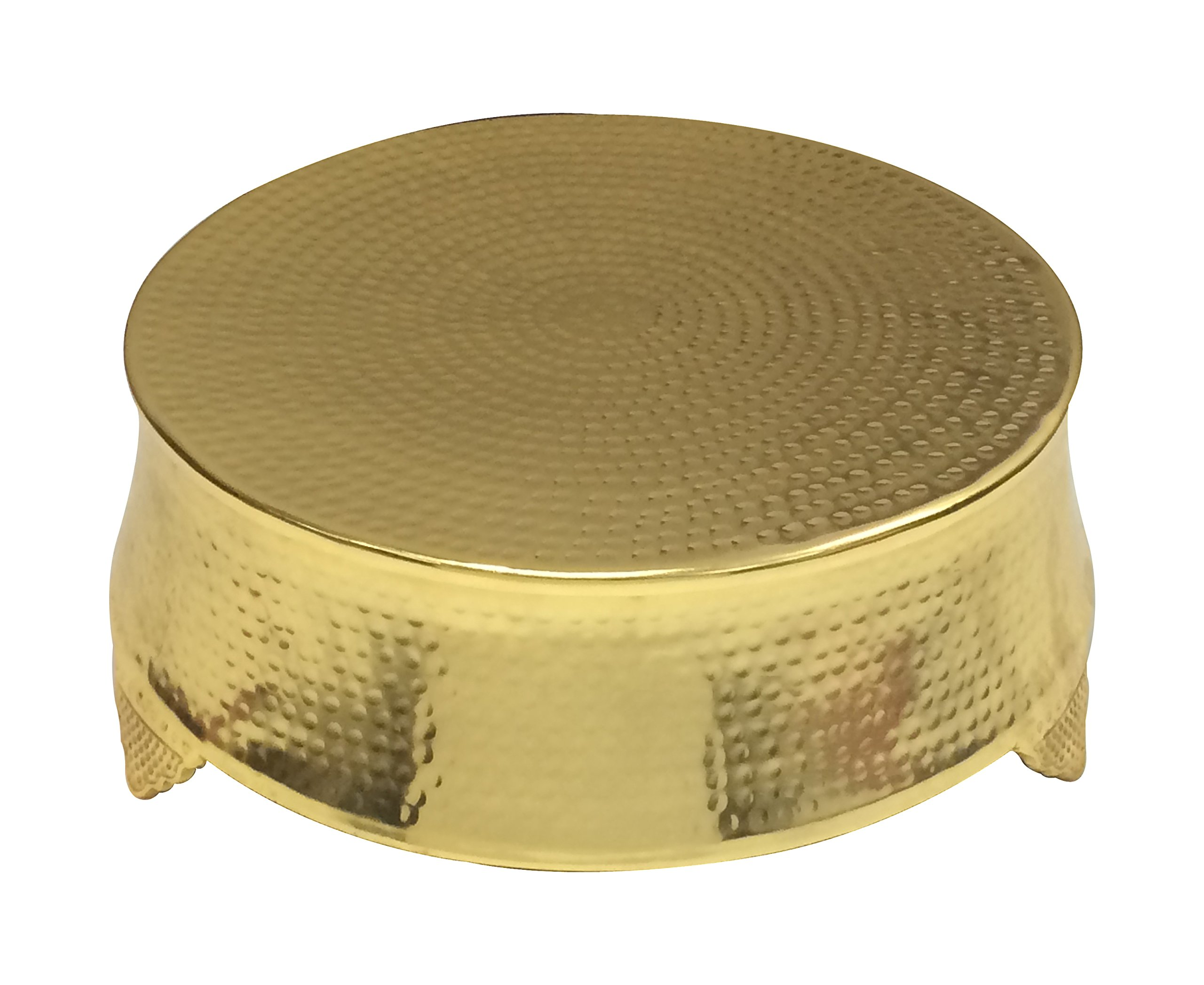 GiftBay Wedding Cake Stand Round 16'', Hammered Design, Gold Finish with Unique Tapered Sides
