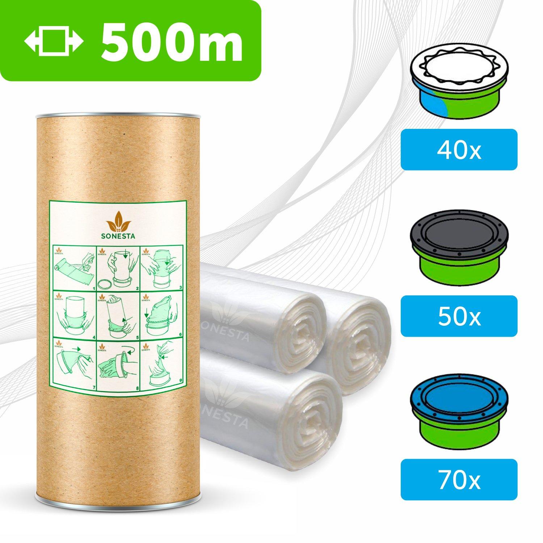 500 M. - ECO Recharge de poubelle à couches Sangenic | Angelcare | Litière Litter Locker II | Recharge équivalente à 40 Recharges Sangenic | Tube en carton pour faciliter la Recharge | 100% Compatible SONESTA