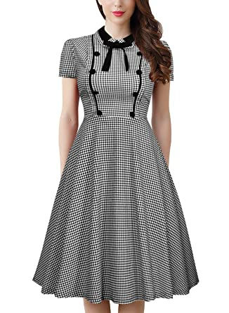 c748a6bf0 MERRYA Women's Vintage 1940s Plaid Work Party A-Line Dress (Black, ...
