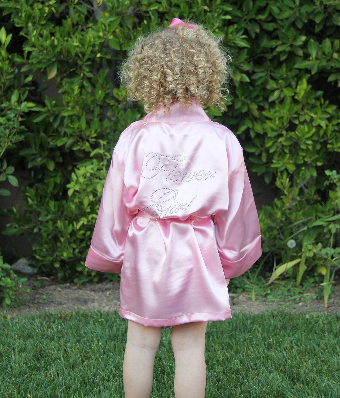 Classy Bride Rhinestone Satin Flower Girl Robe Pink