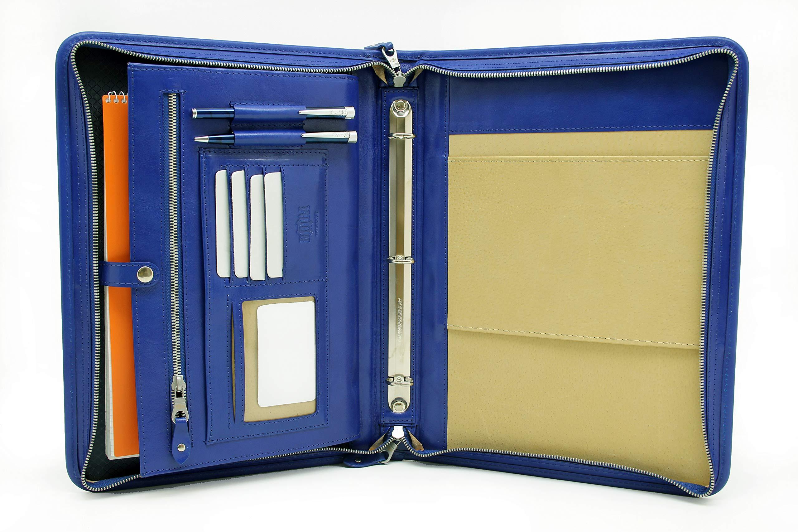 Noda Leather Portfolio,3 Ring Binder, Leather Document Organizer. Professional Folder Letter Size, Notepad Holder (Blue)