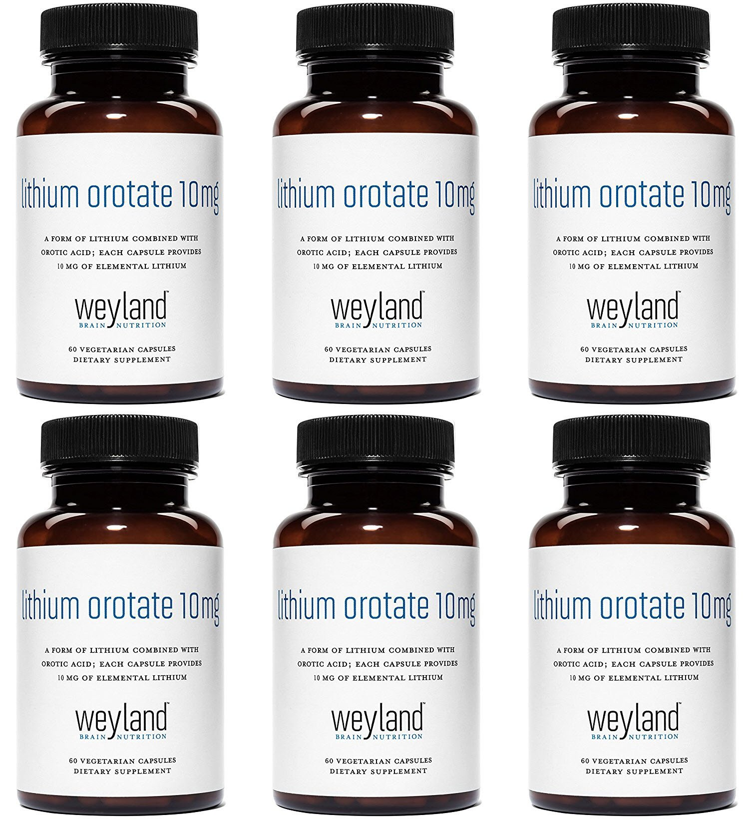 Weyland: Lithium Orotate - 10mg of Elemental Lithium (as Lithium Orotate) per Vegetarian Capsule (6 Bottles)