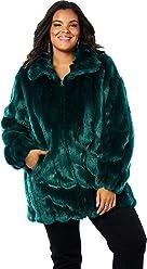 760ddaaae53 Roamans Women s Plus Size Short Faux-Fur Coat