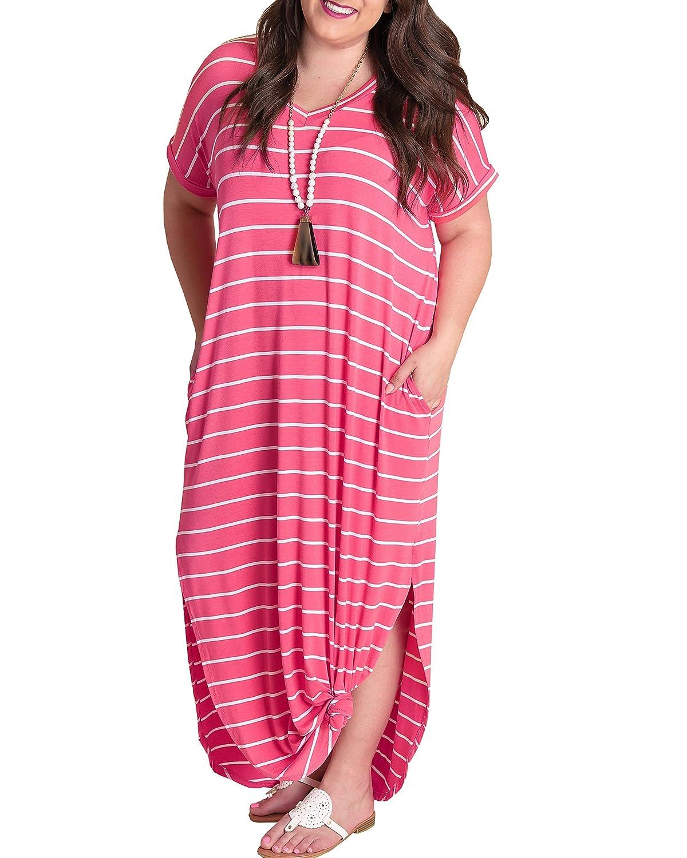 b98b0f813d4a Short sleeve dresses for summer, v neck sexy dress, maxi dresses, long  dresses, striped maxi dress with pockets, t shirt dress, flowy summer  dresses for ...
