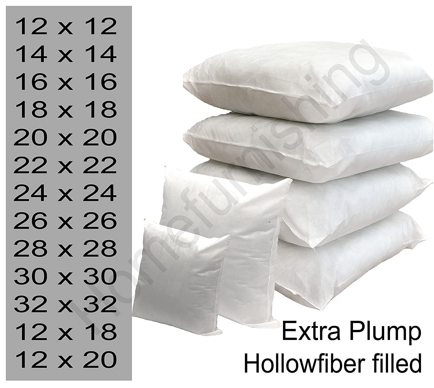 Cushion Inner Pads Scatters Hollowfibre Filling Square Inserts Cushion in All Sizes 12-26 Pack Of 1, 2 and 4 (12 x 12 Pack Of 1) homefurnishing