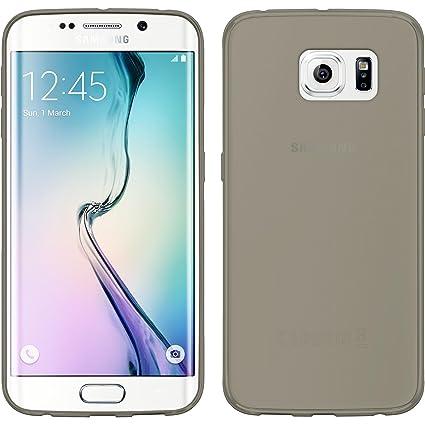 PhoneNatic Samsung Galaxy S6 Edge – Carcasa de Silicona Gris Slim Case Case Galaxy S6 Edge Funda + 2 Protectores