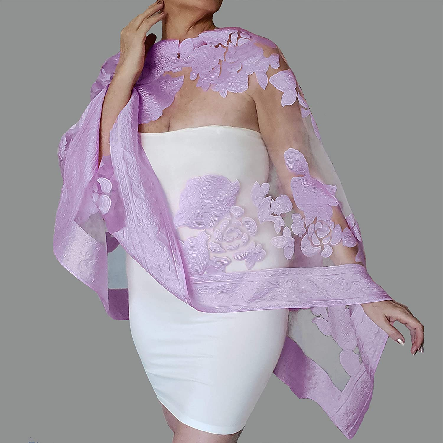 Plus Size Lavender Wrap Purple Wedding Shawl Mother Of The Bride Dress  Stole By ZiiCi