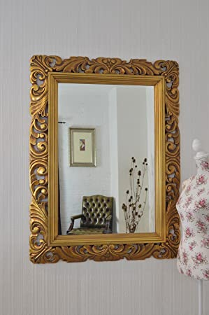 Large Gold Mirror Carved Solid Wood Frame Beautiful Antique Design ...