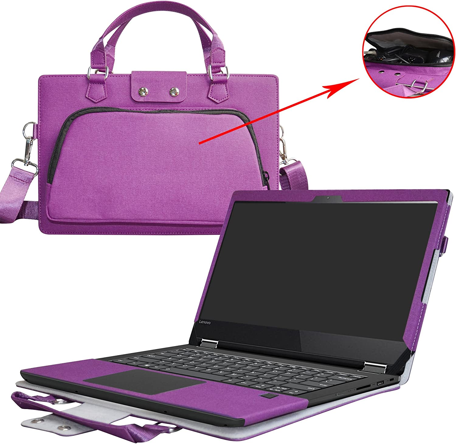 "Flex 5 15 Case,2 in 1 Accurately Designed Protective PU Leather Cover + Portable Carrying Bag for 15.6"" Lenovo Flex 5 15 1570 Series Laptop(Not Fit Flex 4/Flex 5 14),Purple"