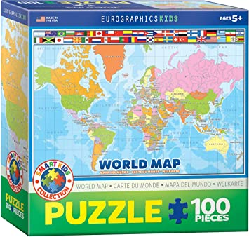 EuroGraphics World Map MO Puzzle (100 Pieces)