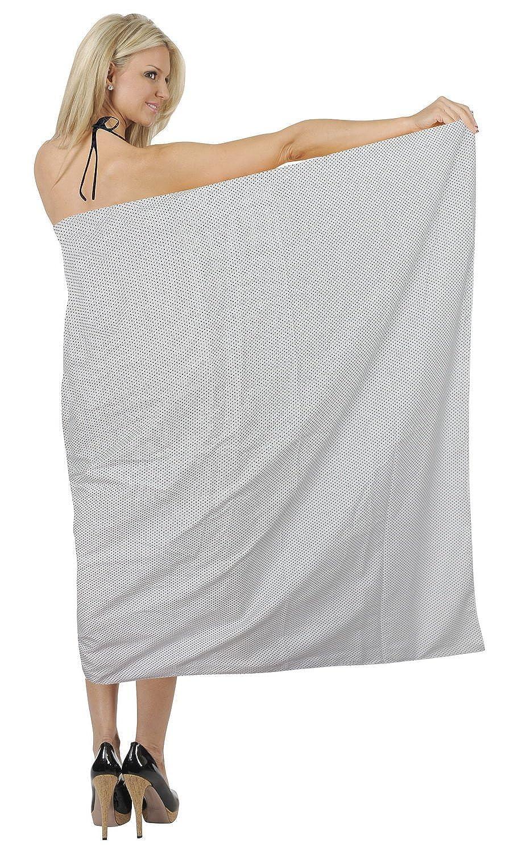 La Leela Baumwolle Grund alle in 1 Damen Lounge Wear/verschleiern/sundress/Strand/Badeanzug/Bikinibadebekleidung/Badeanzug Aloha Hawaii Verpackung Pareo /Größe Sarong Kleid 182x108 cm schwarz
