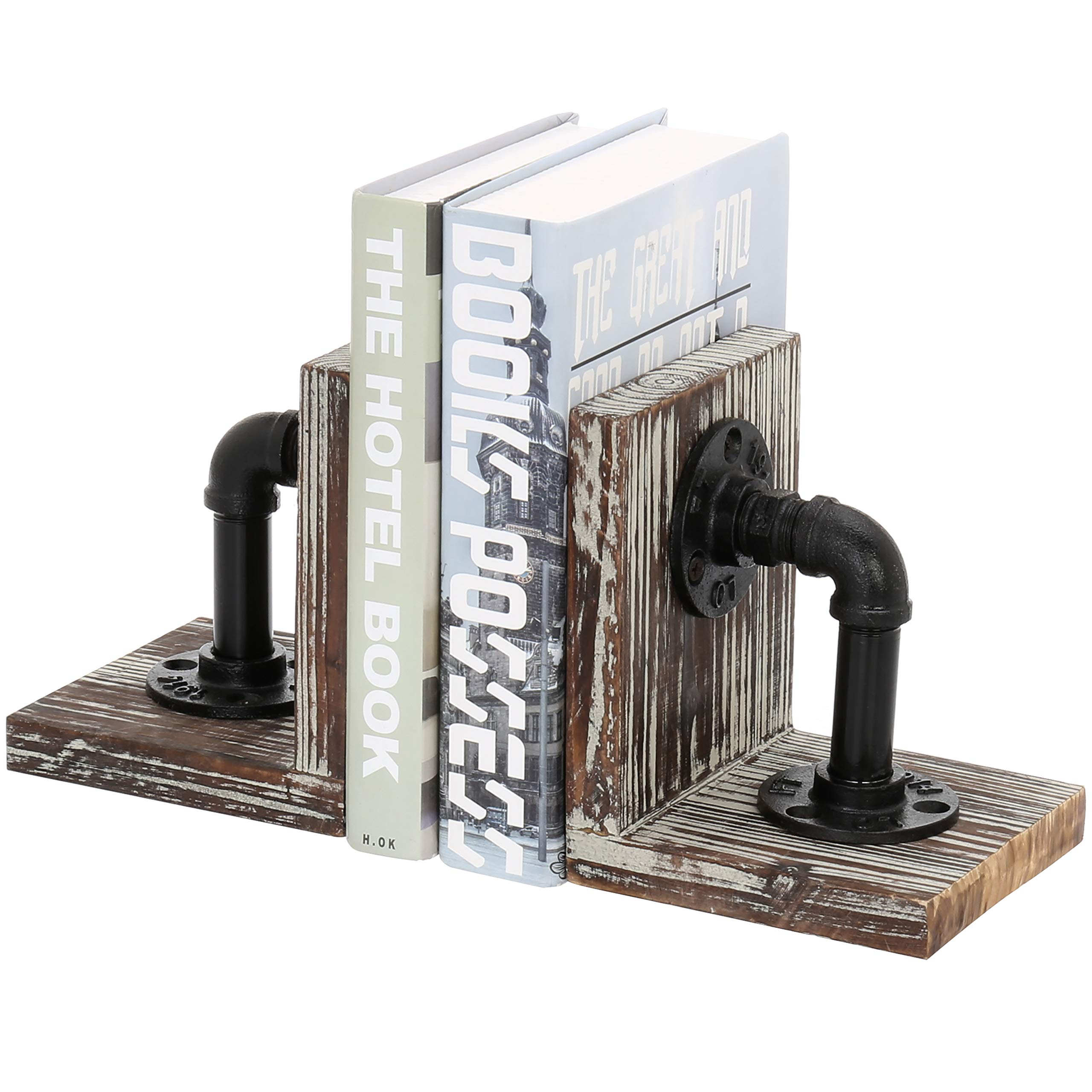 MyGift Industrial-Style Pipe & Torched Wood Bookends, 1-Pair by MyGift