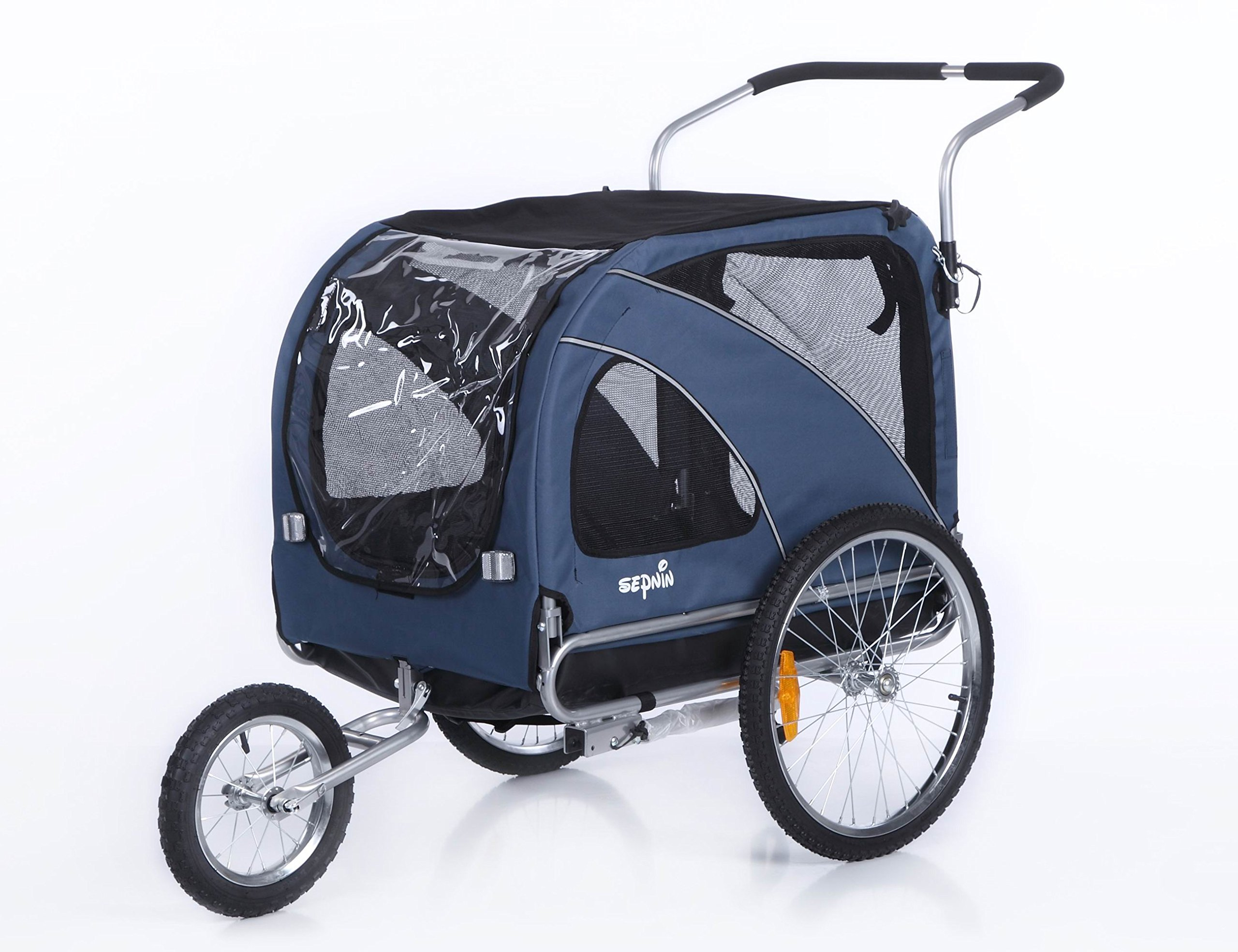Sepnine 2 in1 large pet dog bike trailer bicycle trailer and stroller jogger 10202 (Blue)