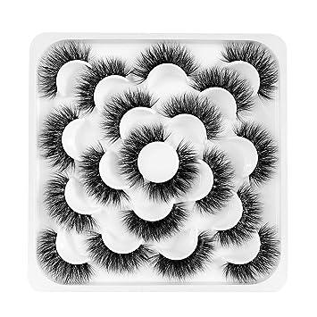 Newcally Lashes Fake Eyelashes Pack 20MM Dramatic Faux Mink Lashes 10 Pairs Thick Long Crossed Fluffy Volume Handmade Strip Eye Lashes Bulk