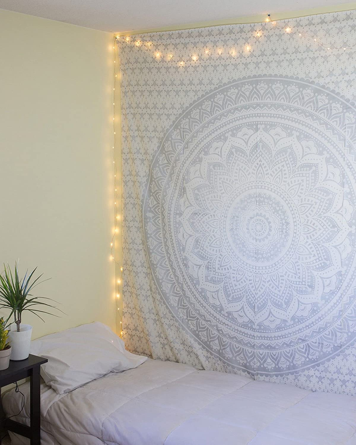 Cotone 85x55 inch raajsee Esclusiva prestampati Original Gold Ombra Tapestry by Dorm Decor Tapestry Hippie Bedspread Tapestry 140/* 220cms Argento Boho Bohemian Tapestry Wall Hanging Tapestry