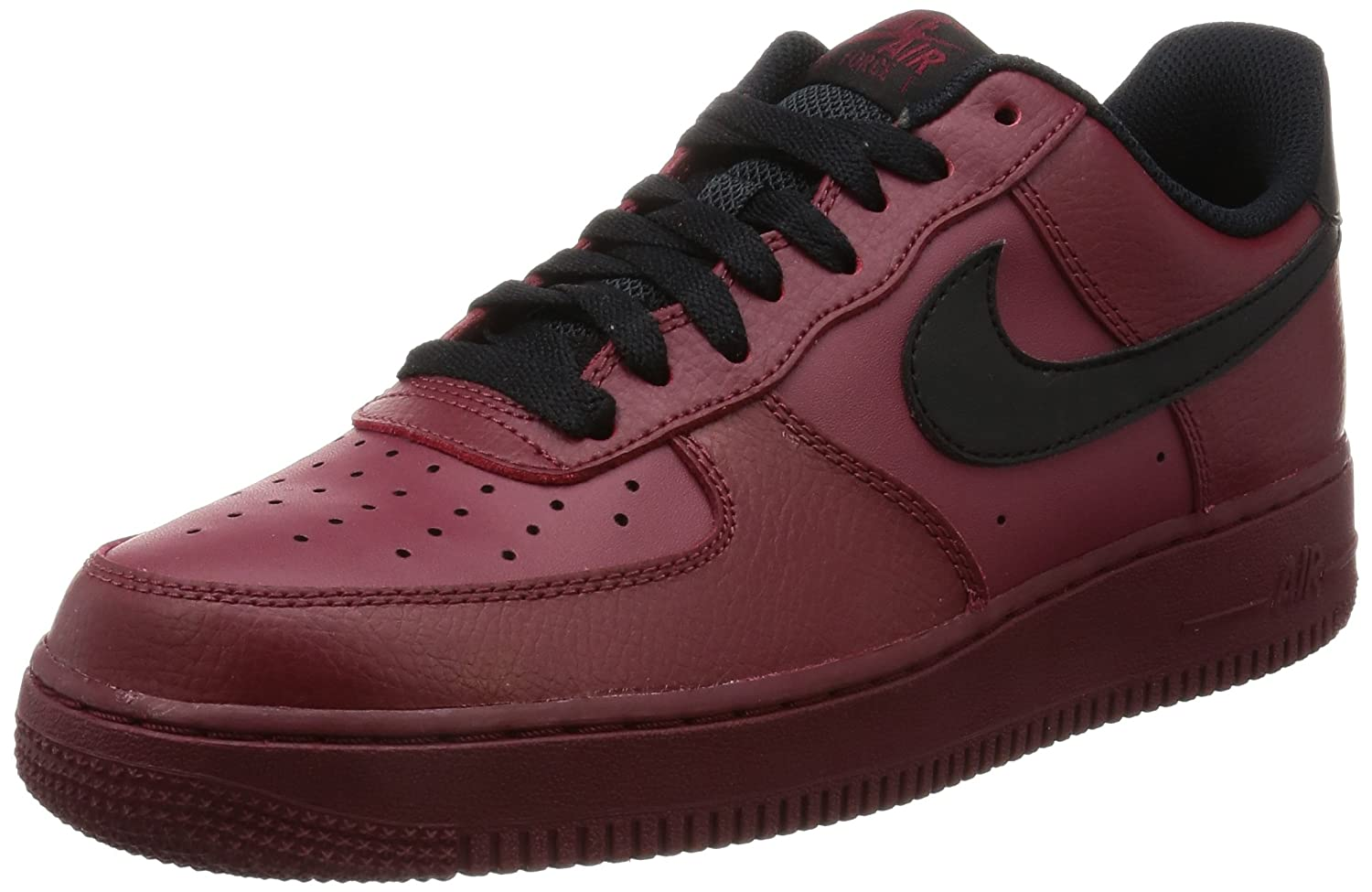online store f9061 e153d Amazon.com   Nike Mens Air Force 1 Leather Athletic Basketball, Team Red Black,  Size 9.5   Basketball