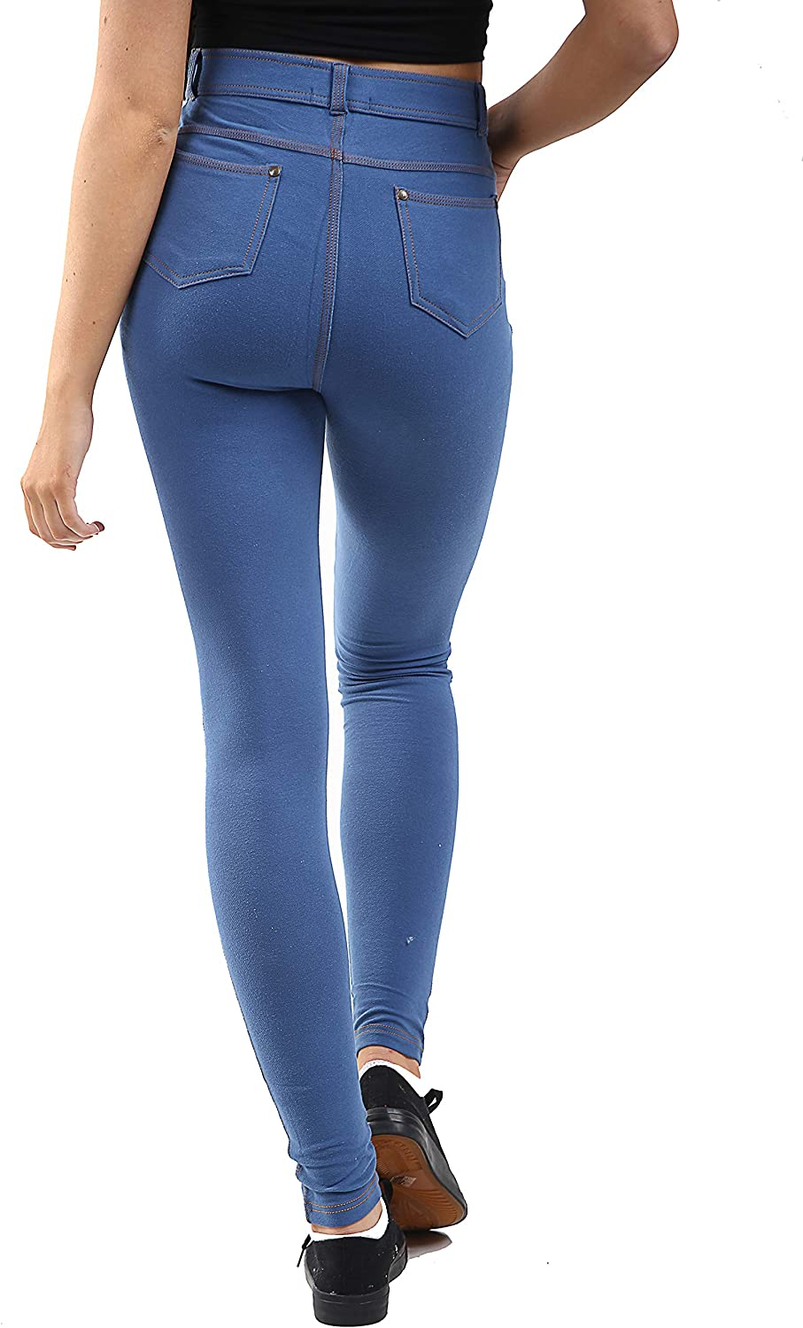 GW CLASSYOUTFIT Womens Ladies Stretchy Denim Look Skinny Jeggings Leggings Trouser Pants