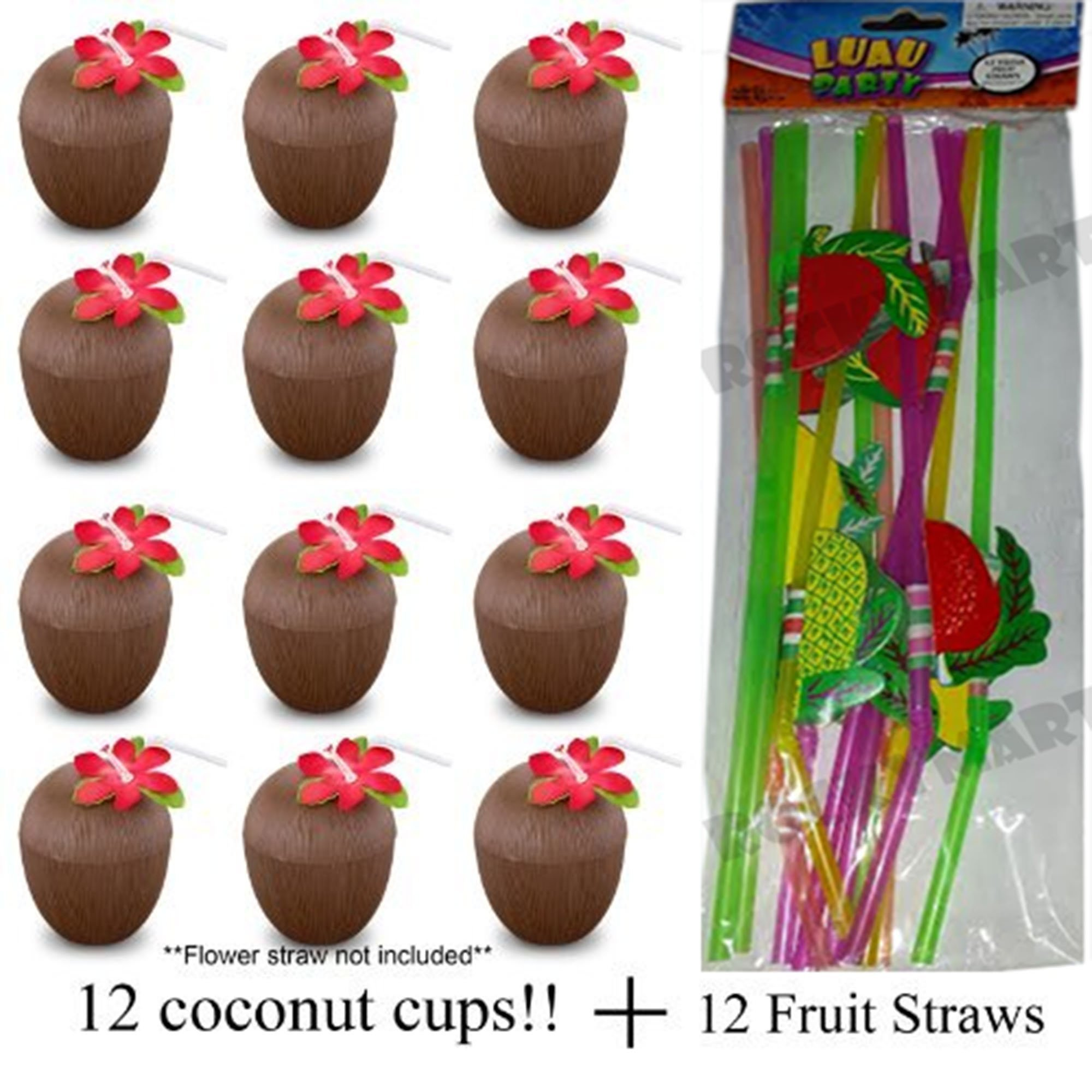 Lot of (12) Coconut Cups For Summer Hawaiian Party Luau W/ 12 FREE FRUIT STRAWS!