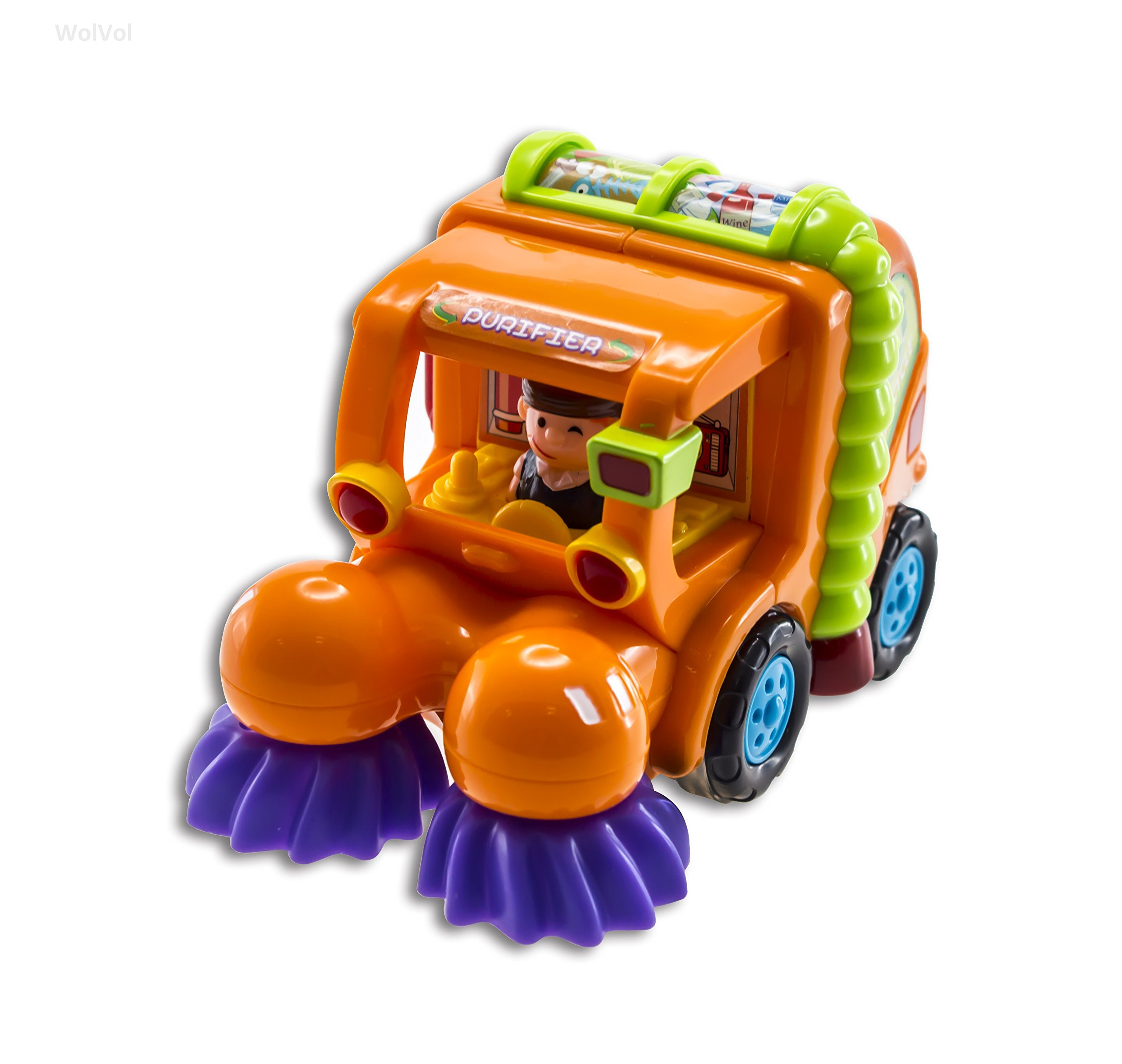 WolVol (Set of 3) Push and Go Friction Powered Car Toys for Boys - Street Sweeper Truck, Cement Mixer Truck, Harvester Toy Truck (Cars Have Automatic Functions) by WolVol (Image #2)